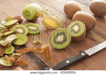 Fresh Kiwi Fruit Being Prepared For Dessert
