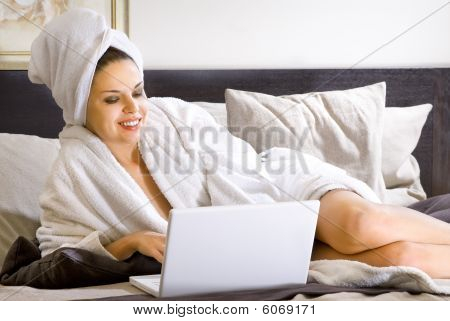 Woman In Bathrobe