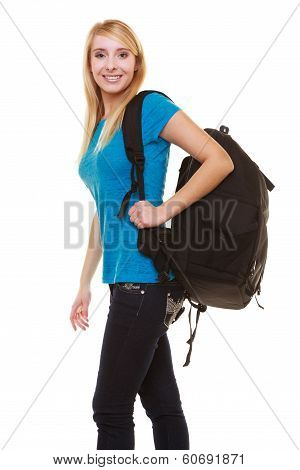 Portrait Casual Blond Smiling Girl Female Student With Bag Backpack Isolated
