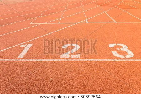 Athletics Track Lanes With White Line
