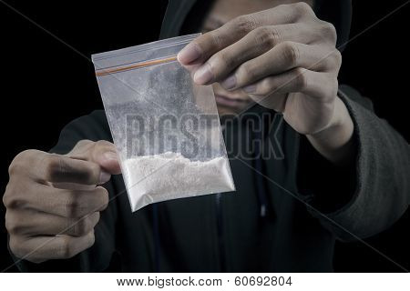 Man With Packet Of Cocaine