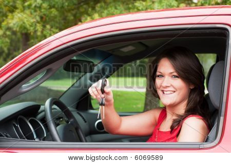 Girl With New Car
