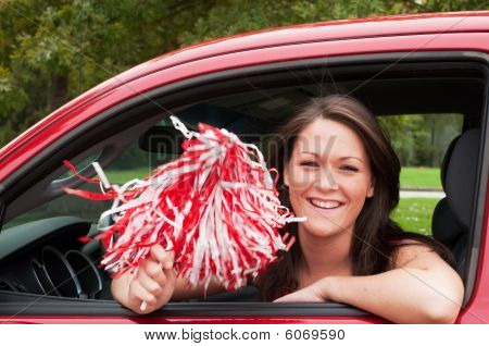 Female Student With Pom Pom
