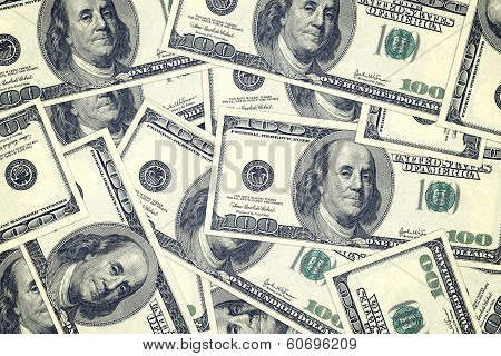 Hundred Dollar Bills As Background