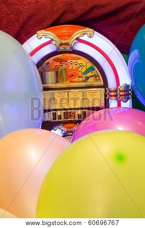 Party colorful balloon and jukebox background