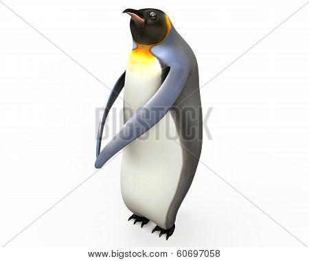 Emperor penguins , cartoon penguins , 3d render penguins