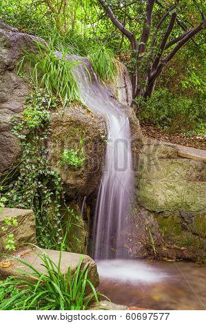 Small Park Waterfall Among Plants