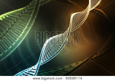 model of twisted DNA chain isolated on dark colour