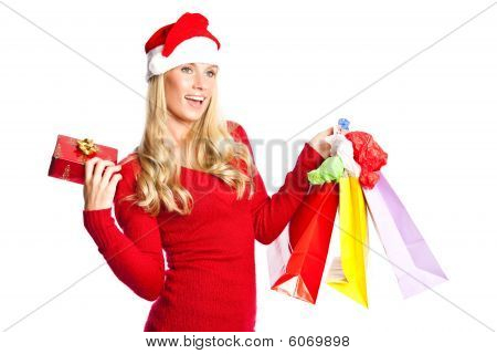 Christmas Shopping Santa Girl