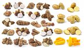 stock photo of taro corms  - taro root and potato isolated on white background - JPG
