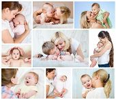 stock photo of infant  - Collage Mother - JPG
