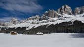 foto of south tyrol  - Chalet and trees under the snow in the idyllic landscape of the dolomiti in Trentino South Tyrol - JPG