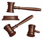 image of symbol punctuation  - Illustration of three versions of a gavel used by court judges and other symbols of authority - JPG