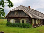 Typical, Ethnographic Wooden House In Rumsiskes, Kaunas District In Lithuania