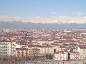 stock photo of turin  - Turin skyline seen from the hills surrounding the city - JPG