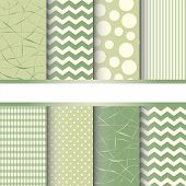 stock photo of chevron  - Set of green pastel jumbo polka dots gingham and chevron seamless patterns - JPG