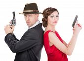 picture of gangster  - Man gangster and sexy spy woman with guns - JPG