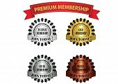 stock photo of bronze silver gold platinum  - premium membership badges that can be used for membership plan deals or promotion - JPG