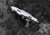 image of pistols  - 3D digital render of a science fiction beam pistol on a dark background - JPG