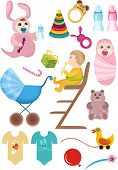 picture of girl toy  - vector illustration of a cute baby set with disign elements - JPG