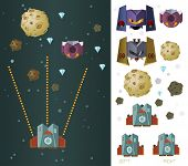space ship game asset vector