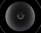 stock photo of membrane  - Closeup of black music speakers membrane isolated on black background - JPG