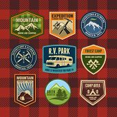 stock photo of tent  - Vintage camping and hiking badges  - JPG