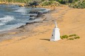 stock photo of gozo  - Ramla Beach the Red Sandy Beach with it - JPG