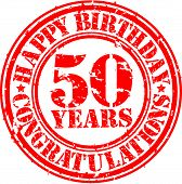 stock photo of 50th  - Happy birthday 50 years grunge rubber stamp vector illustration - JPG