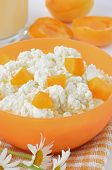 stock photo of curd  - Fresh curd cheese with apricot slices in orange bowl - JPG