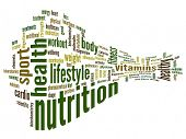 High resolution concept or conceptual abstract 3D nutrition and health word cloud or wordcloud on wh