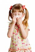 stock photo of human nose  - child girl wiping or cleaning nose with tissue isolated on white - JPG