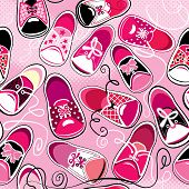 Seamless Pattern - Children Gumshoes On Pink Background - Design For Girls