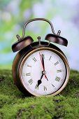 stock photo of daylight-saving  - Retro alarm clock on grass on natural background - JPG