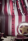 stock photo of circus clown  - vintage circus arena - JPG