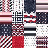picture of rudder  - Seamless pattern with nautical elements - JPG