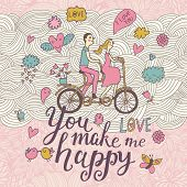 You make me happy. Romantic concept background in cute colors. Couple in love on tandem bicycle insi