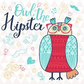 Owl the hipster. Cute cartoon card with bird and popular signs: bicycle, mustache, heart, anchor in