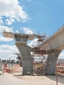 image of trestle bridge  - fragment view of the road under construction - JPG