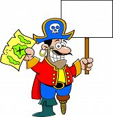 stock photo of peg-leg  - Cartoon illustration of a pirate holding a map and a sign - JPG