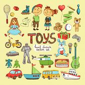 image of baby doll  - vector set of different cartoon toys - JPG