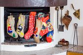 pic of epiphany  - Chimney with epiphany socks during christmas holidays - JPG