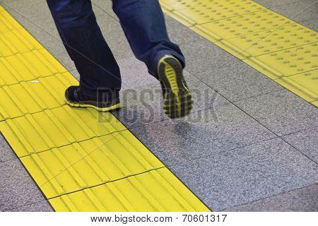 braille block in subway