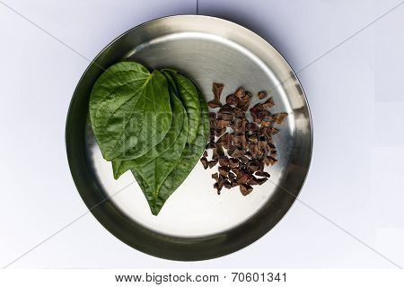 Betel leaves and areca nut kept in a serving container