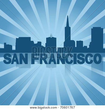 San Francisco skyline reflected with blue sunburst illustration