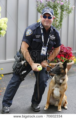 NYPD transit bureau K-9 police officer and Belgian Shepherd  Wyatt  providing security at Natio