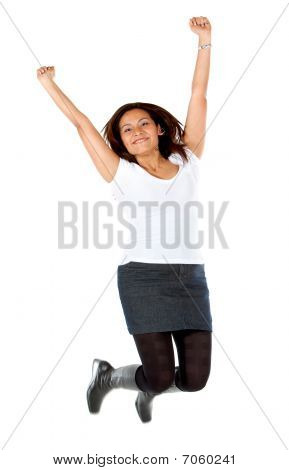 Casual Woman Jumping