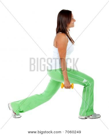 Woman exercising isoliert