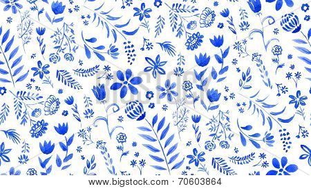 Watercolor seamless pattern with blue floral elements