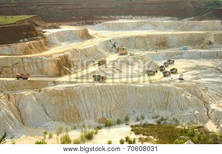 Kaolin Career With White Plaster Material And Trucks